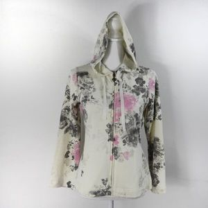 T435 Three Hearts Petite Small Floral Zip Hoodie